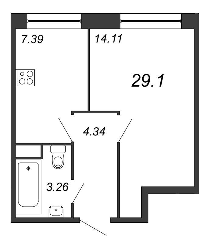 Планировка Однокомнатная квартира площадью 29.1 кв.м в ЖК «Удача»