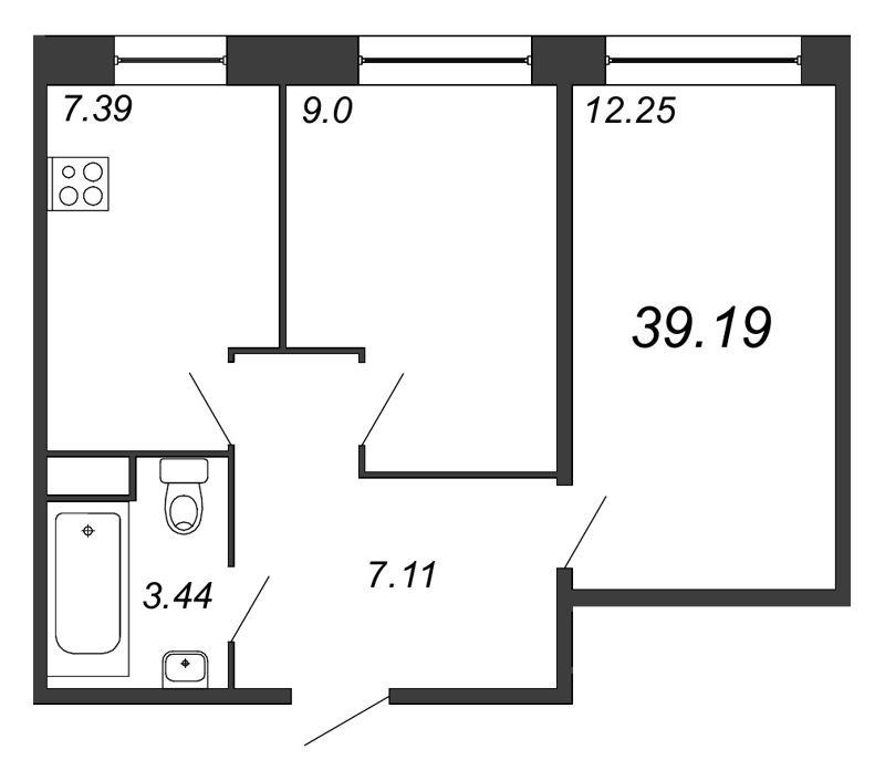 Планировка Двухкомнатная квартира площадью 39.19 кв.м в ЖК «Удача»