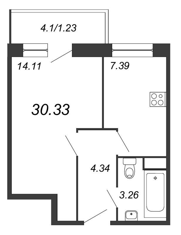 Планировка Однокомнатная квартира площадью 30.33 кв.м в ЖК «Удача»