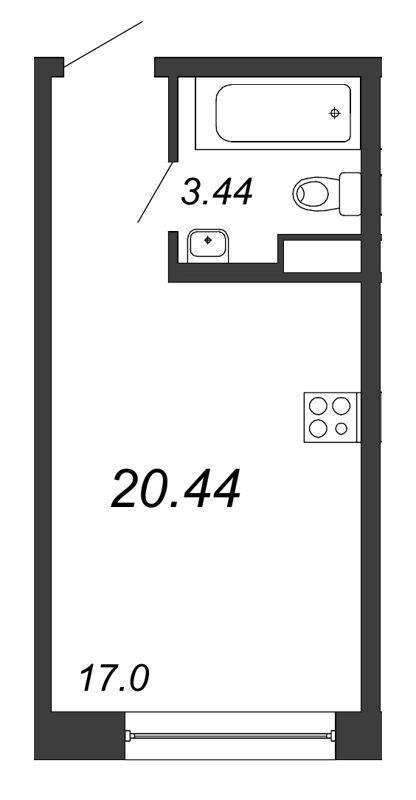 Планировка Студия площадью 20.44 кв.м в ЖК «Удача»