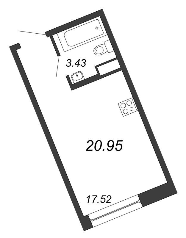 Планировка Студия площадью 20.95 кв.м в ЖК «Удача»